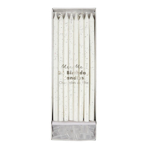 Tall Birthday Candles (silver glitter)-Palm & Pine