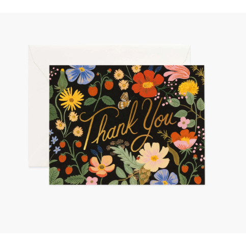 Strawberry Fields Thank You Card-Palm & Pine
