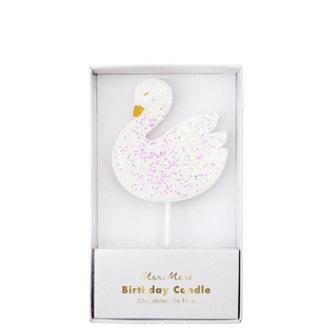 Glitter Swan Candle-Palm & Pine Party Co.