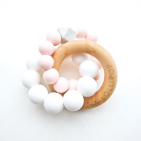Silicone & Wood Baby Teether - Pink Quartz-Palm & Pine