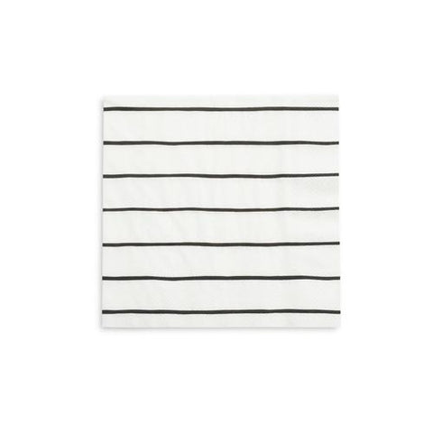 Black Stripe Napkin (large)-Palm & Pine Party Co.