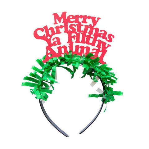 Merry Christmas Ya Filthy Animal Headband-Palm & Pine Party Co.
