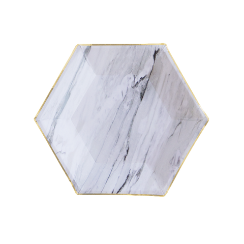 Carrara Marble Party Plates-Palm & Pine