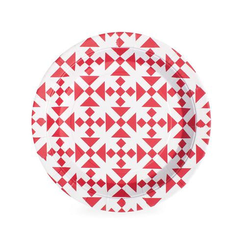 Dessert Plate (aztec red)-Palm & Pine