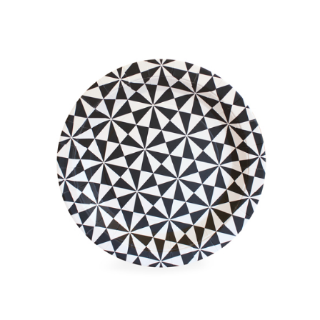Dessert Plate (black geo)-Palm & Pine Party Co.