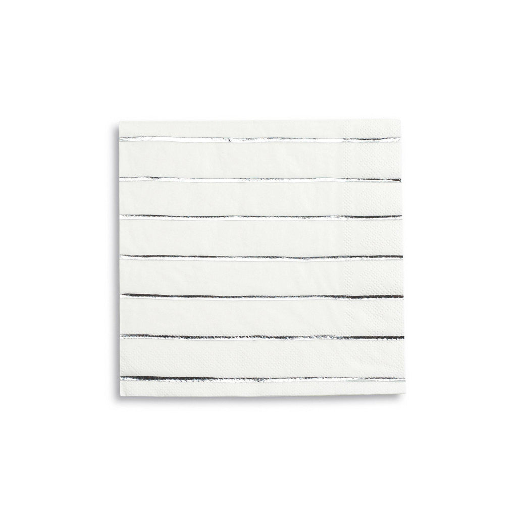 Silver Stripe Napkin (large)-Palm & Pine