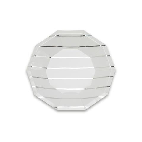 Silver Stripe Plate (small)-Palm & Pine