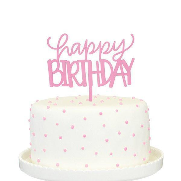 Happy Birthday Cake Topper (pink)-Palm & Pine Party Co.