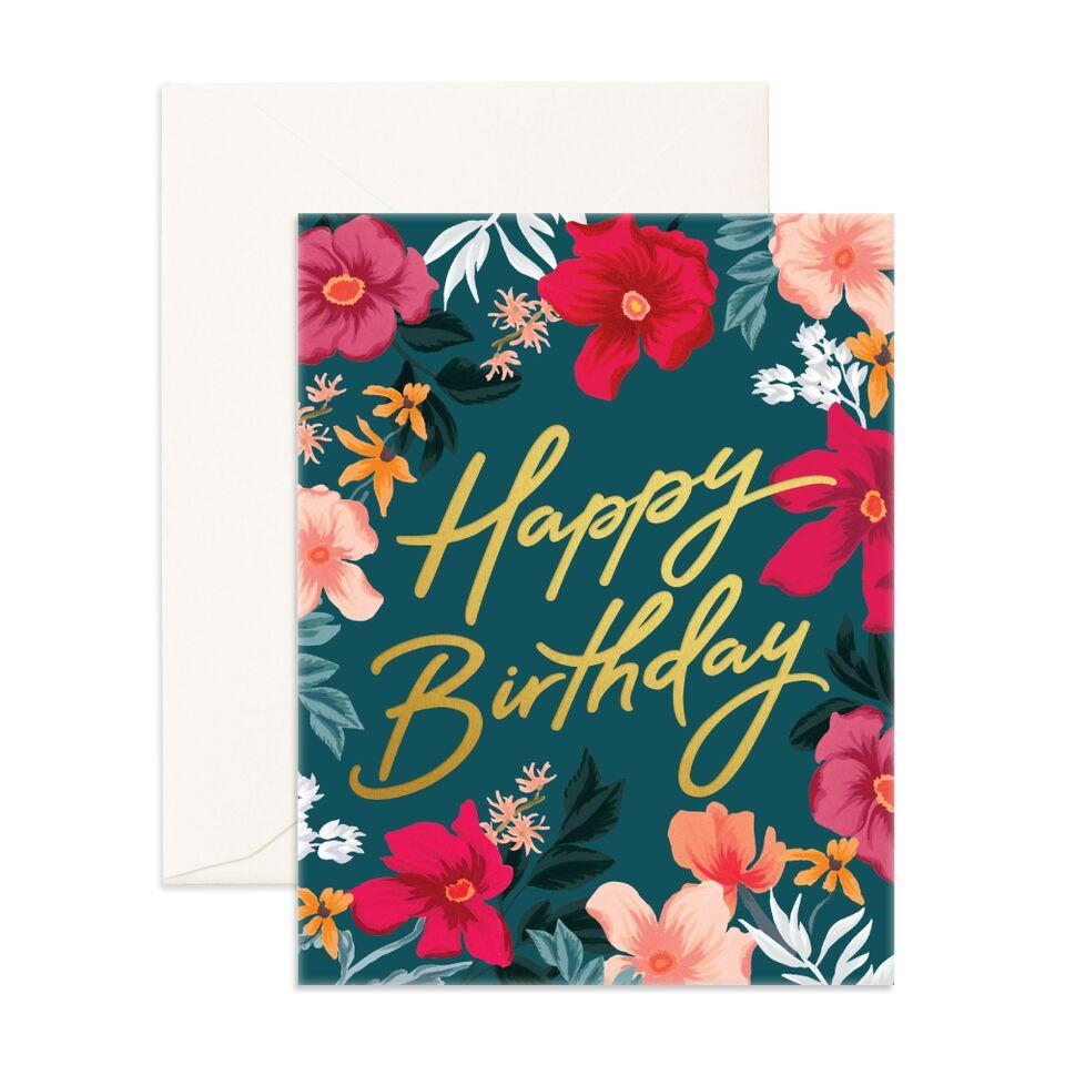 Happy Birthday Florentine Card-Palm & Pine Party Co.