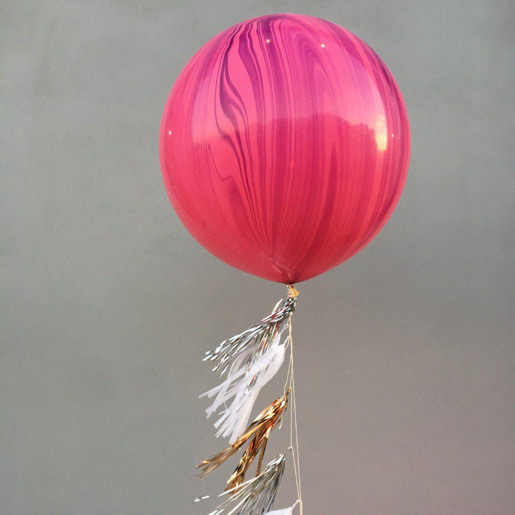 Jumbo Marble Pink/Violet Balloon, Inflated-Palm & Pine Party Co.