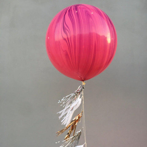 Jumbo Marble Pink/Violet Balloon, Inflated-Palm & Pine