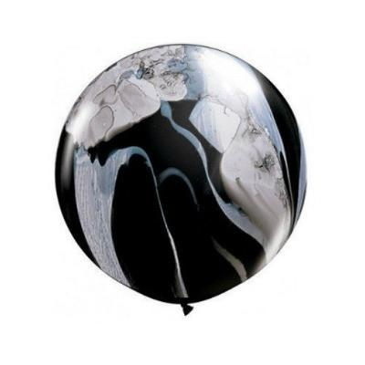 Jumbo Marble Balloon 90cm (white/black)-Palm & Pine Party Co.