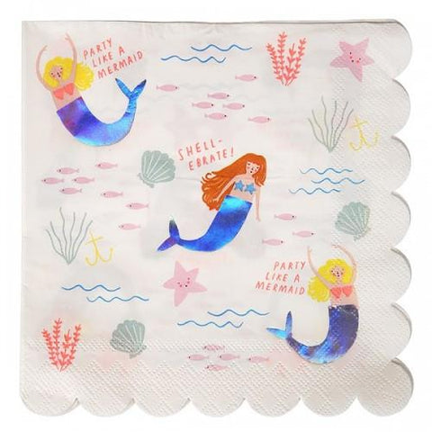 Let's Be Mermaids Party Napkins (large)-Palm & Pine Party Co.