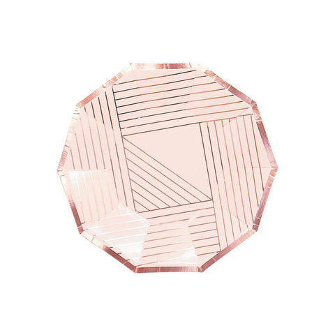 Manhattan Blush Stripe Plates-Palm & Pine Party Co.