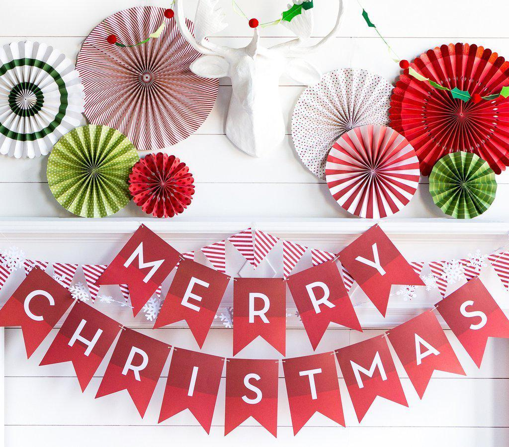 Christmas Banners.Merry Christmas Banner Palm Pine Party Co