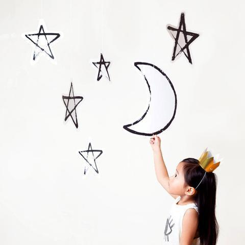 Moon and Stars Hanging Decor-Palm & Pine Party Co.