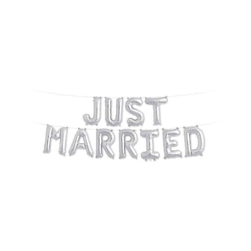 "Mylar 40cm ""Just Married"" Balloon Banner-Palm & Pine Party Co."
