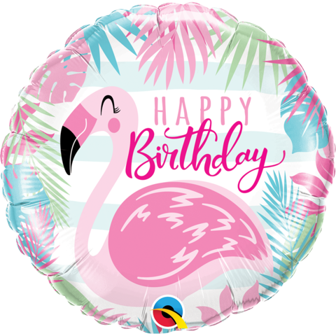 Birthday Flamingo Balloon, Inflated-Palm & Pine