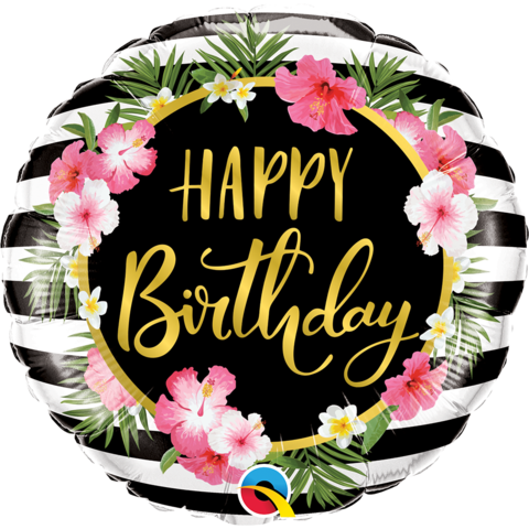 Mylar Happy Birthday Hibiscus Stripes Balloon-Palm & Pine Party Co.