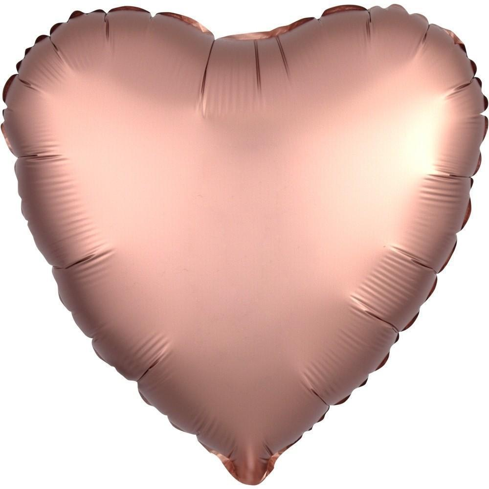 Mylar Heart Balloon Satin (Rose Copper)-Palm & Pine Party Co.