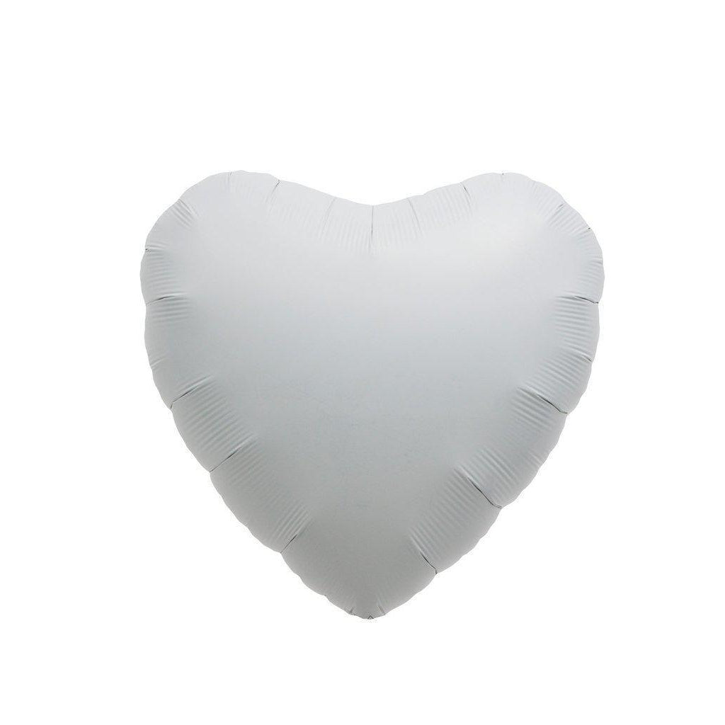 Mylar Heart Balloon (White)-Palm & Pine Party Co.