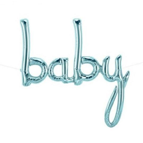 "Mylar Script ""baby"" (blue)-Palm & Pine Party Co."