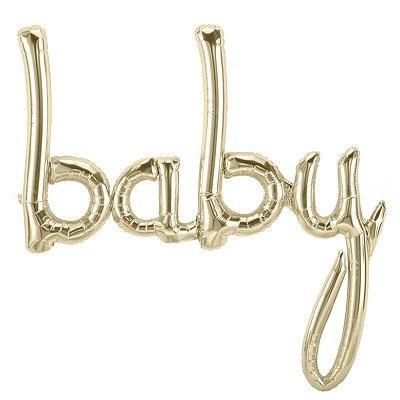 "Mylar Script ""baby"" (white gold)-Palm & Pine Party Co."