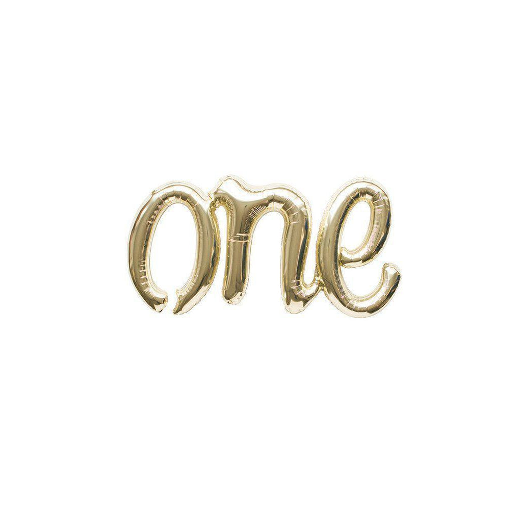 "Mylar Script Balloon ""One""-Palm & Pine Party Co."