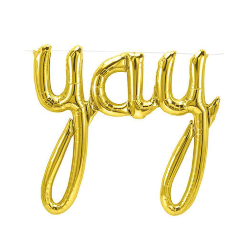 "Mylar Script Balloon ""Yay"" Gold-Palm & Pine Party Co."