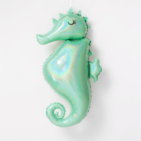 Mylar Seahorse Balloon (holographic)-Palm & Pine Party Co.