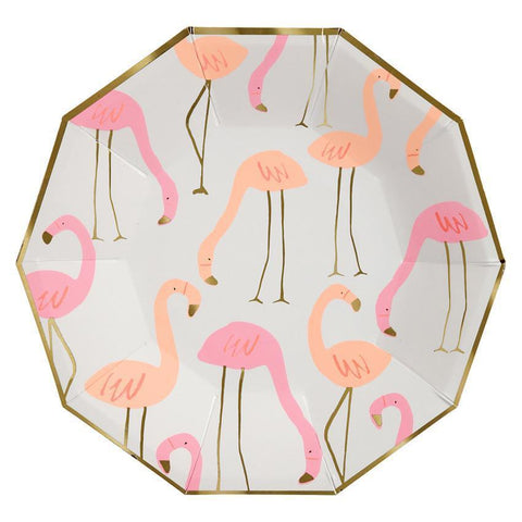 Neon Flamingo Plates-Palm & Pine
