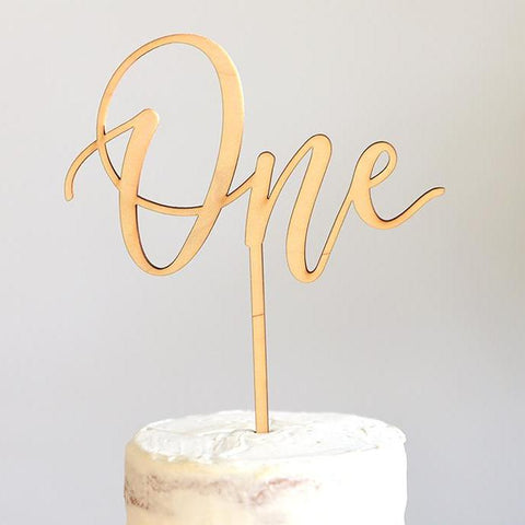 One Calligaphy Cake Topper-Palm & Pine Party Co.