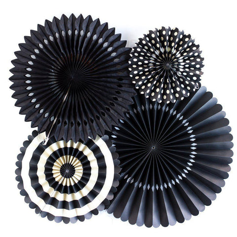 Party Fans (black)-Palm & Pine