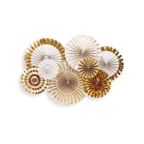 Party Fans (fancy gold)-Palm & Pine Party Co.