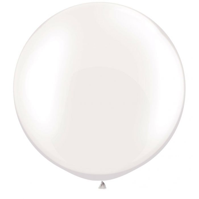Jumbo Round Pearl White Balloon, Inflated-Palm & Pine Party Co.