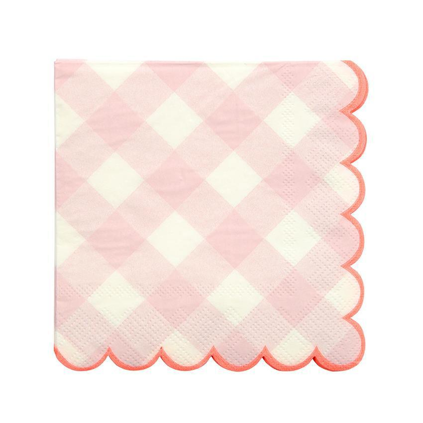 Pink Gingham Napkins (small)-Palm & Pine Party Co.