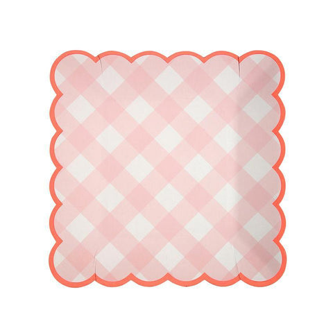 Pink Gingham Plates (small)-Palm & Pine Party Co.