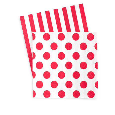 Small Party Napkins (red spot)-Palm & Pine