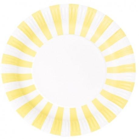 Stripe Large Party Plates (yellow)-Palm & Pine Party Co.
