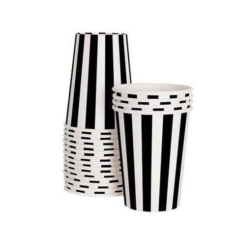 Stripe Party Cup (black)-Palm & Pine Party Co.