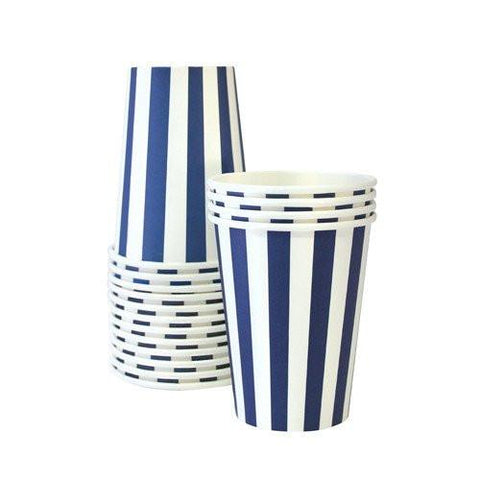 Stripe Party Cup (navy)-Palm & Pine Party Co.