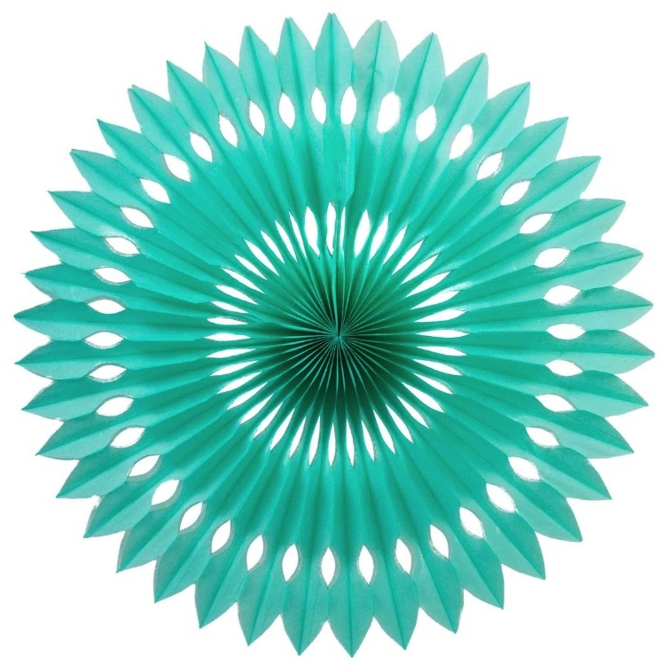 Turquoise Honeycomb Fan (40cm)-Palm & Pine Party Co.