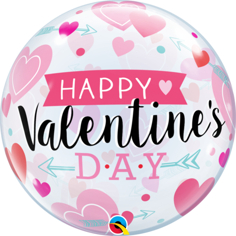 Valentine's Arrows and Hearts Bubble Balloon-Palm & Pine Party Co.