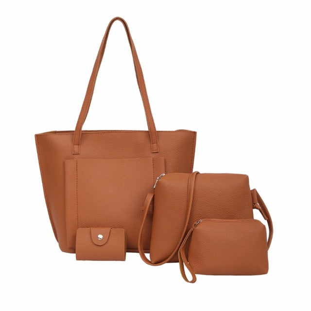 <p>Rebate Points = 0.31  <br /></p> 4 in 1 Korean Women Fashion Bag (Brown) - successmall