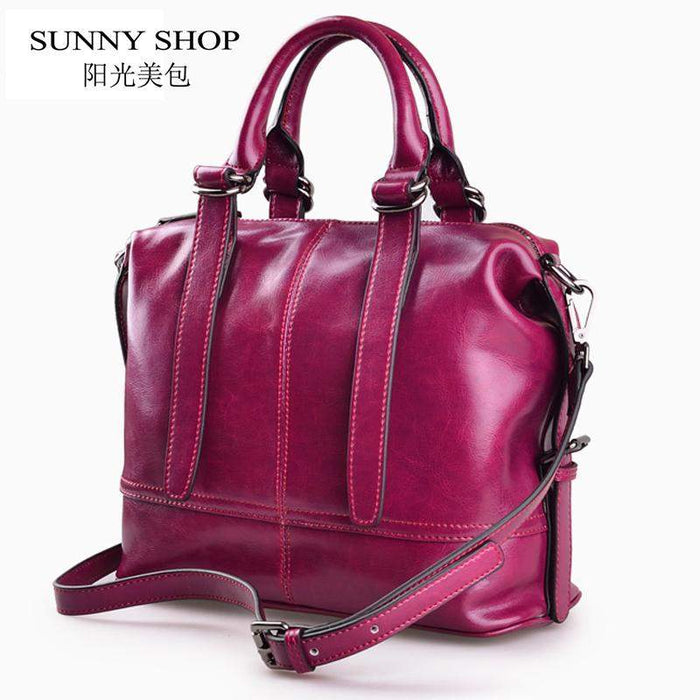 SUNNY SHOP American Luxury Handbags Genuine Leather Women Bags Designer Women Messenger Bags Women Real Leather Handbags - successmall