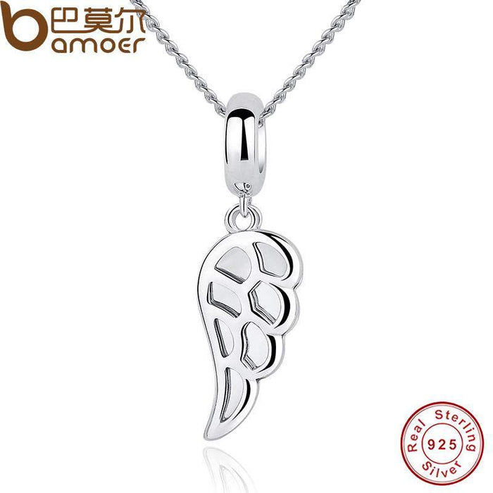 BAMOER Classic 925 Sterling Silver Angle Wings Feather Charms Pendant Necklace Women Wedding Fine Jewelry CC032