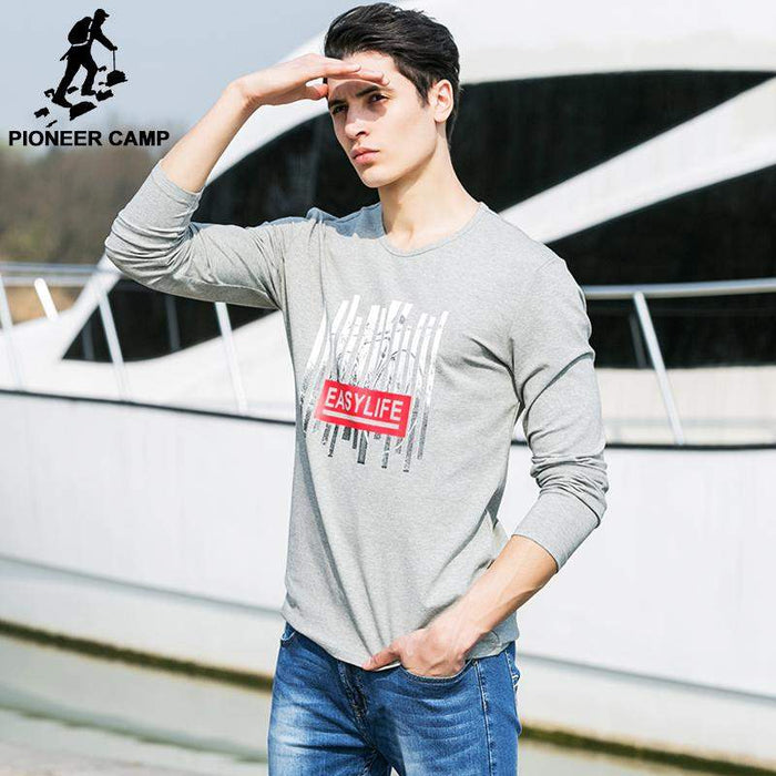 Pioneer Camp 2017 New Autumn Spring Mens Long Sleeve T shirt Brand clothing Men Long-Sleeved T-Shirt Male Printed Tshirt 620031