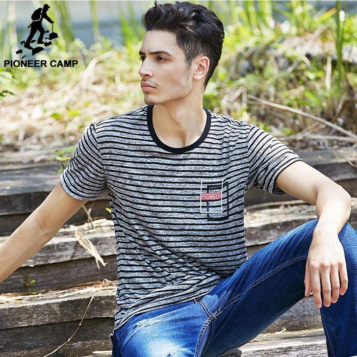 Pioneer Camp Fashion Personality Mens T Shirt Striped Elastic Summer Shirt Breathable Casual Male T-Shirts Free Shipping 622074 - successmall