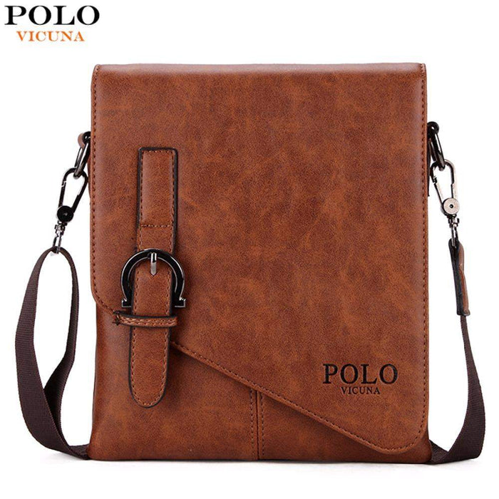 VICUNA POLO Unique Buckle Design Irregular Cover Open Mens Messenger Bag 2 Sizes Business Men Crossbody Bag Leather Man Bag Hot - successmall