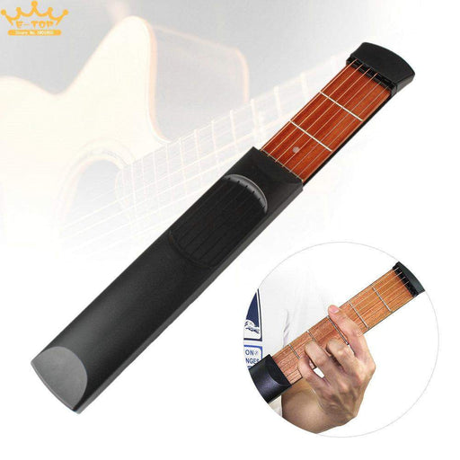 Pocket Guitar Portable Pocket Acoustic Guitar Practice Tool Gadget Chord Trainer 6 String 6 Fret Model for Beginner